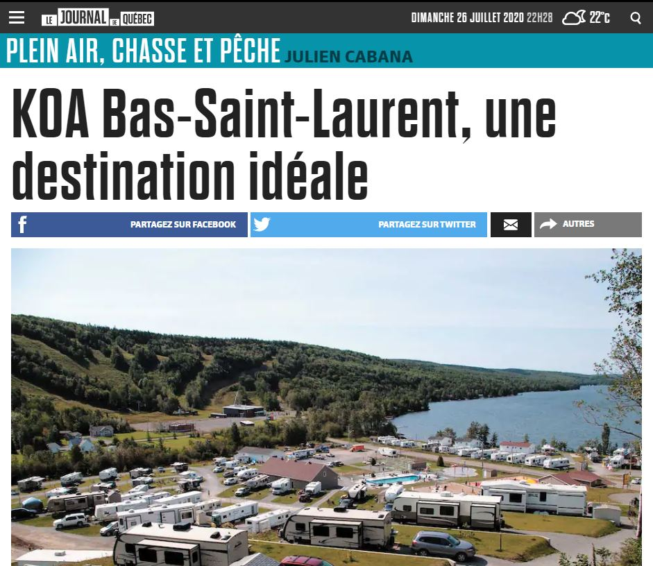 Article : KOA Bas St-Laurent, une destination idéale !